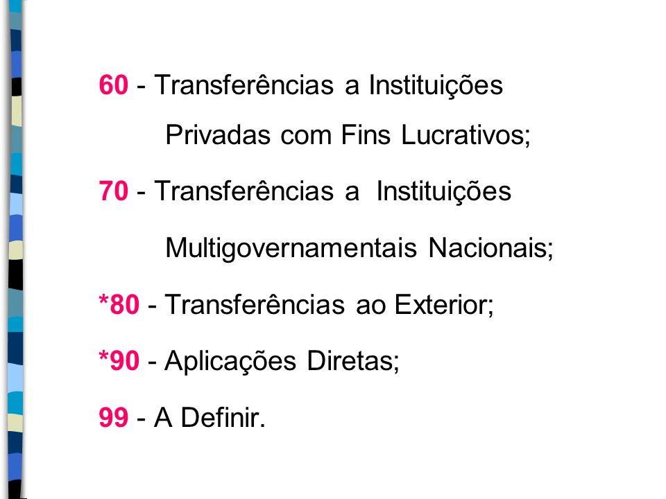 60 - Transferências a Instituições Privadas com Fins Lucrativos; 70 - Transferências a Instituições Multigovernamentais Nacionais; *80 - Transferência