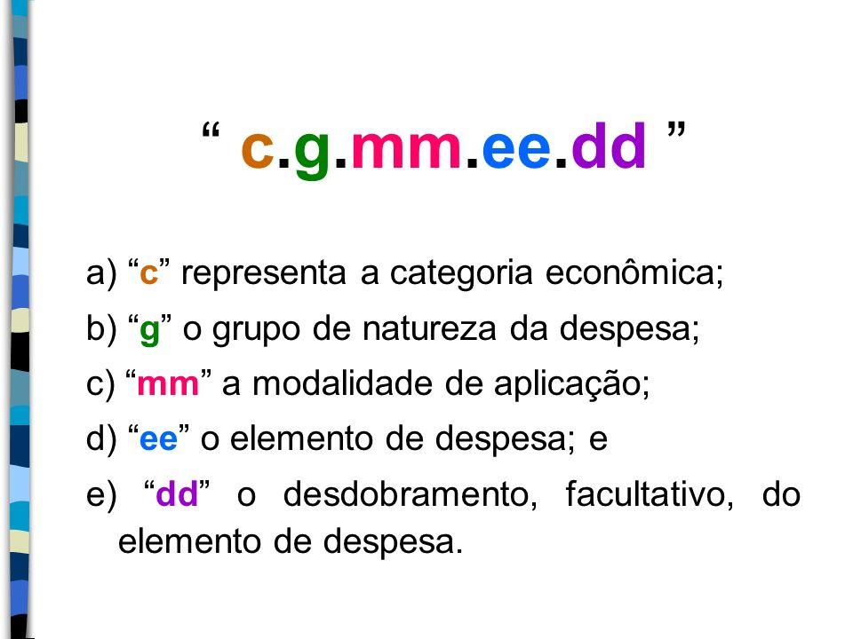 c.g.mm.ee.dd a) c representa a categoria econômica; b) g o grupo de natureza da despesa; c) mm a modalidade de aplicação; d) ee o elemento de despesa;