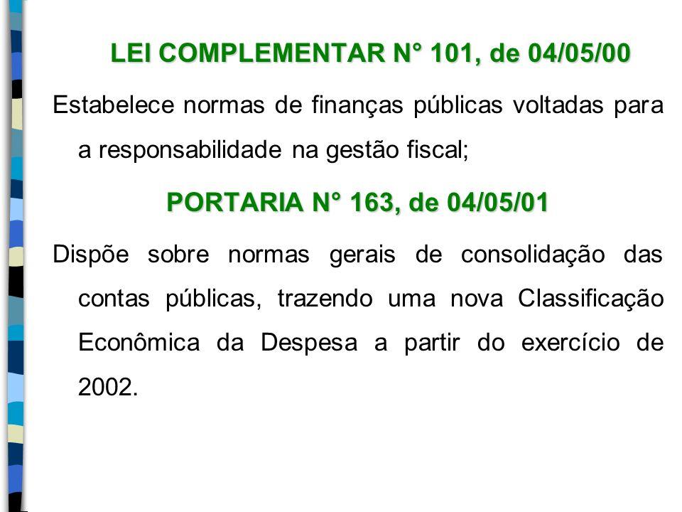 LEI COMPLEMENTAR N° 101, de 04/05/00 Estabelece normas de finanças públicas voltadas para a responsabilidade na gestão fiscal; PORTARIA N° 163, de 04/