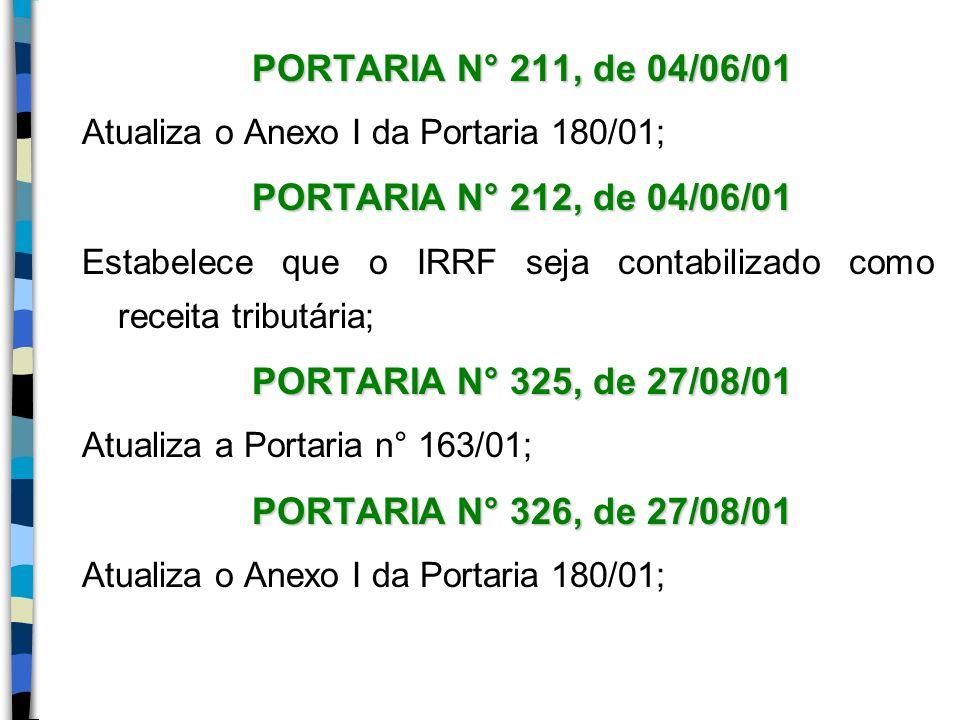 PORTARIA N° 211, de 04/06/01 Atualiza o Anexo I da Portaria 180/01; PORTARIA N° 212, de 04/06/01 Estabelece que o IRRF seja contabilizado como receita
