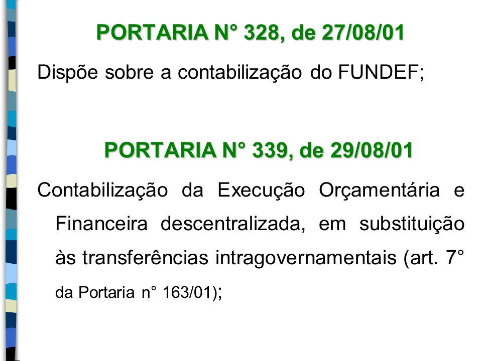 PORTARIA N° 328, de 27/08/01 Dispõe sobre a contabilização do FUNDEF; PORTARIA N° 339, de 29/08/01 Contabilização da Execução Orçamentária e Financeir