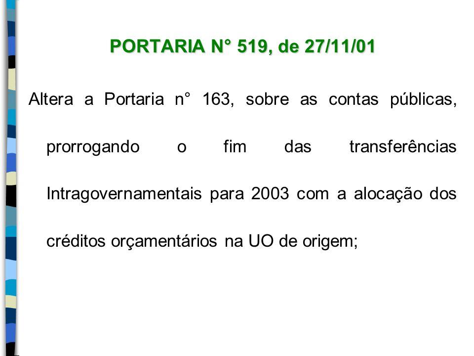 PORTARIA N° 519, de 27/11/01 Altera a Portaria n° 163, sobre as contas públicas, prorrogando o fim das transferências Intragovernamentais para 2003 co