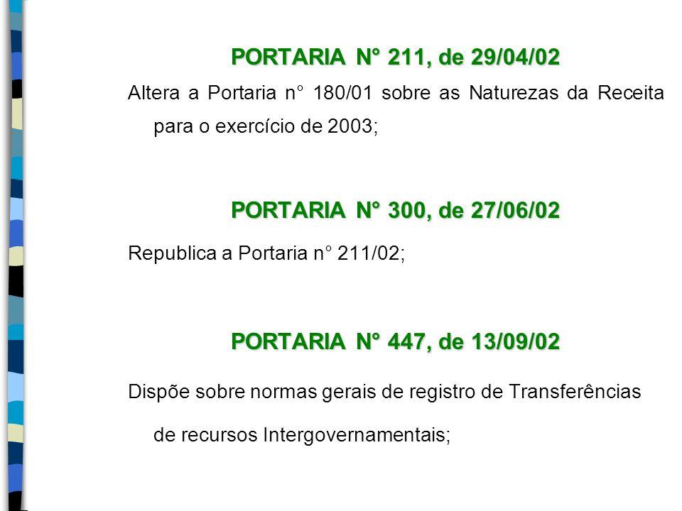 PORTARIA N° 211, de 29/04/02 Altera a Portaria n° 180/01 sobre as Naturezas da Receita para o exercício de 2003; PORTARIA N° 300, de 27/06/02 Republic