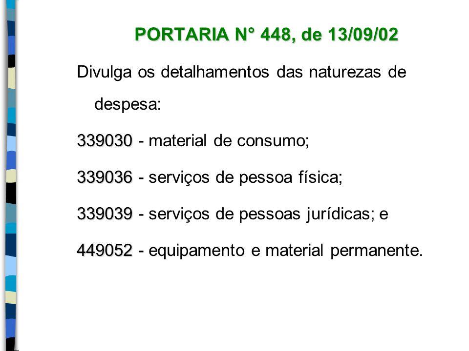 PORTARIA N° 448, de 13/09/02 Divulga os detalhamentos das naturezas de despesa: 339030 339030 - material de consumo; 339036 339036 - serviços de pesso