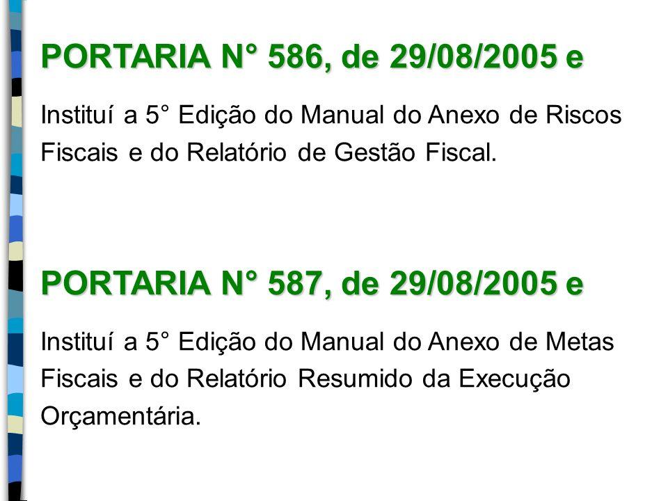 PORTARIA N° 586, de 29/08/2005 e Instituí a 5° Edição do Manual do Anexo de Riscos Fiscais e do Relatório de Gestão Fiscal. PORTARIA N° 587, de 29/08/