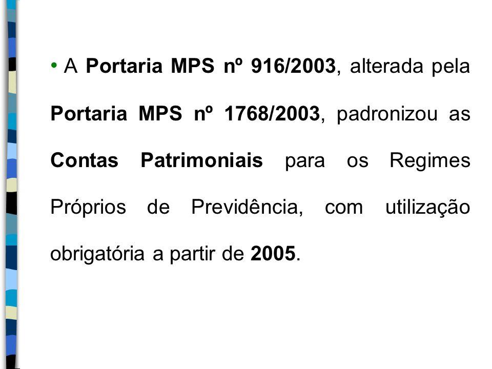 A Portaria MPS nº 916/2003, alterada pela Portaria MPS nº 1768/2003, padronizou as Contas Patrimoniais para os Regimes Próprios de Previdência, com ut