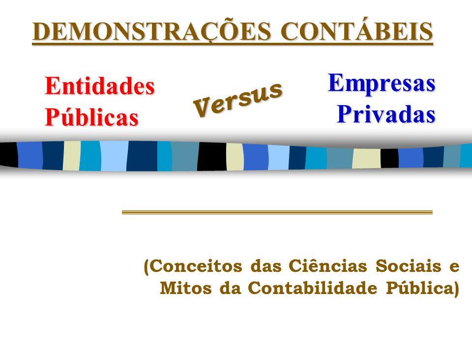 DEMONSTRAÇÕES CONTÁBEIS Empresas Privadas Versus Entidades Públicas (Conceitos das Ciências Sociais e Mitos da Contabilidade Pública)