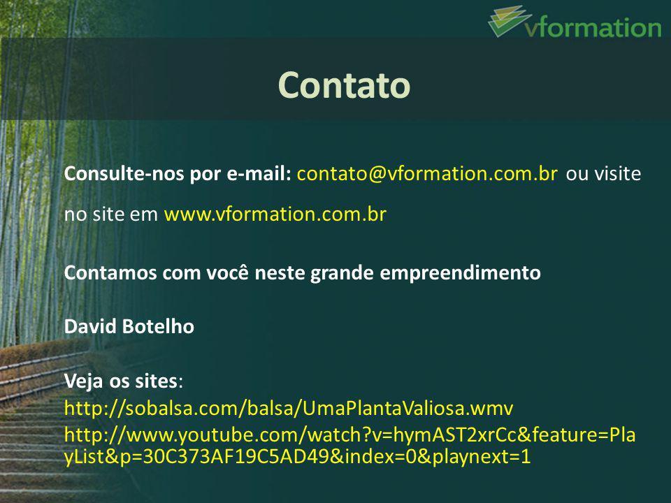 Consulte-nos por e-mail: contato@vformation.com.br ou visite no site em www.vformation.com.br Contamos com você neste grande empreendimento David Bote