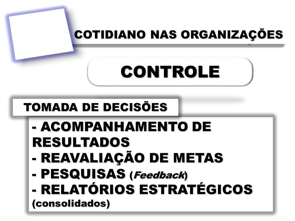 - ACOMPANHAMENTO DE RESULTADOS - REAVALIAÇÃO DE METAS - PESQUISAS (Feedback) - RELATÓRIOS ESTRATÉGICOS (consolidados) COTIDIANO NAS ORGANIZAÇÕES TOMAD