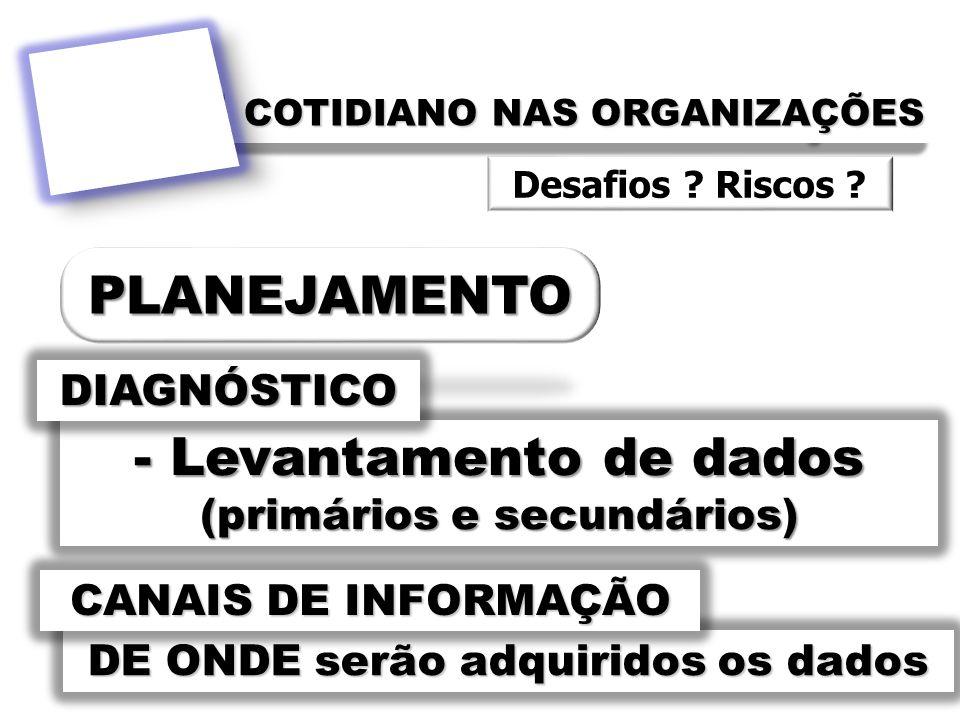 COTIDIANO NAS ORGANIZAÇÕES - Levantamento de dados (primários e secundários) DIAGNÓSTICO DE ONDE serão adquiridos os dados CANAIS DE INFORMAÇÃO Desafi