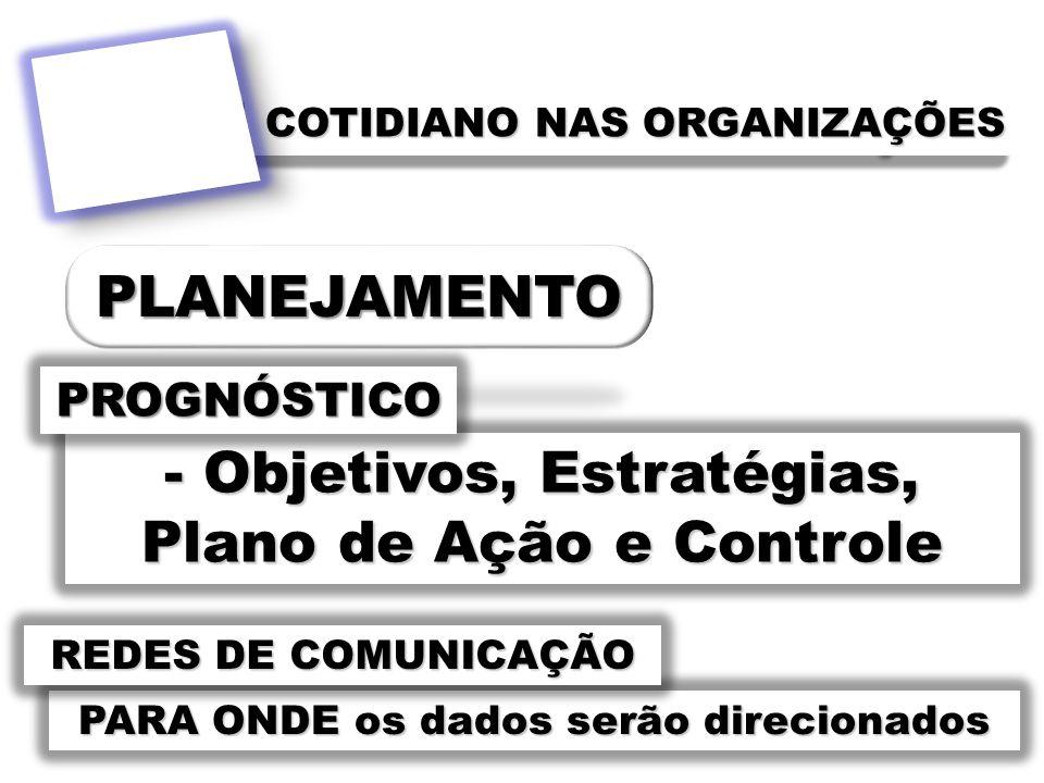 - Objetivos, Estratégias, Plano de Ação e Controle PROGNÓSTICO PARA ONDE os dados serão direcionados REDES DE COMUNICAÇÃO