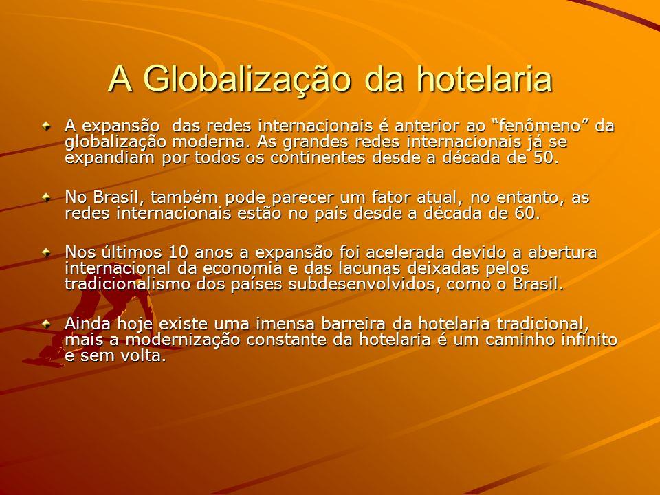 A Globalização da hotelaria Enumeramos os benefícios trazidos pelas redes internacionais: –Modernização e padronização de standars –Mais preocupação com serviços –Mais preocupação com estilo, design, modernidade.