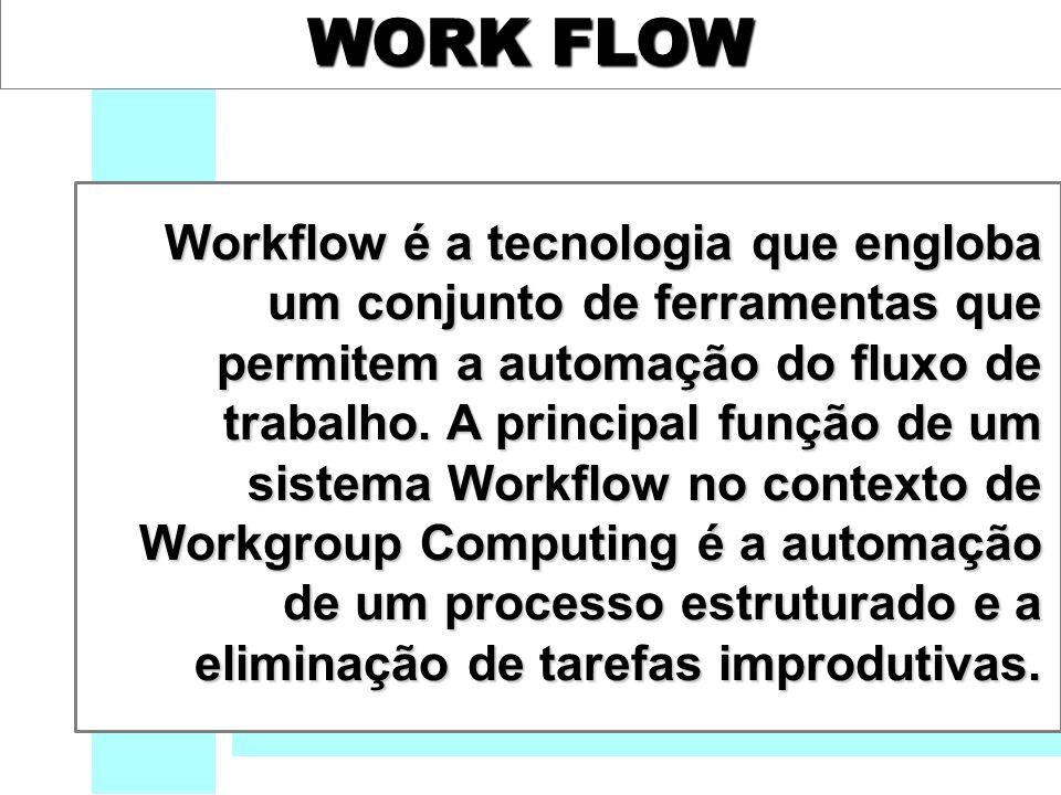 WORK FLOW Workflow é a tecnologia que engloba um conjunto de ferramentas que permitem a automação do fluxo de trabalho.