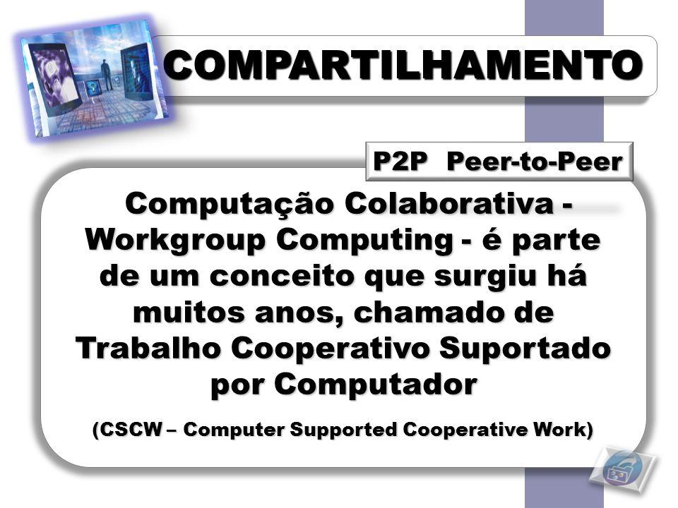 COMPARTILHAMENTOCOMPARTILHAMENTO Computação Colaborativa - Workgroup Computing - é parte de um conceito que surgiu há muitos anos, chamado de Trabalho Cooperativo Suportado por Computador Computação Colaborativa - Workgroup Computing - é parte de um conceito que surgiu há muitos anos, chamado de Trabalho Cooperativo Suportado por Computador (CSCW – Computer Supported Cooperative Work)