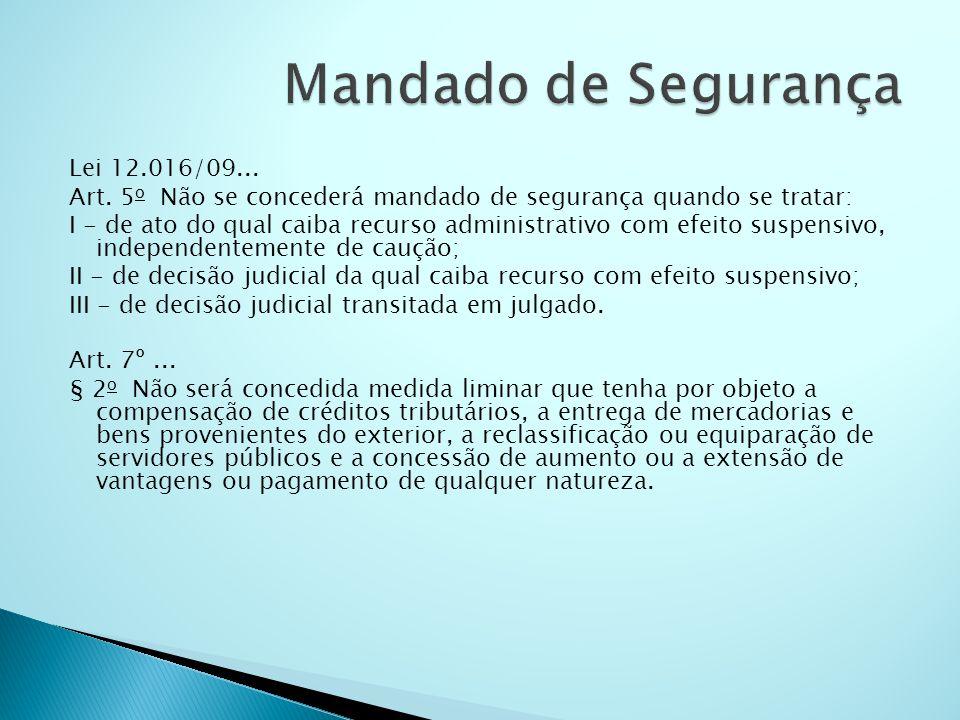 Lei 12.016/09... Art. 5 o Não se concederá mandado de segurança quando se tratar: I - de ato do qual caiba recurso administrativo com efeito suspensiv
