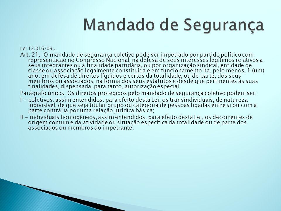 Lei 12.016/09... Art. 21. O mandado de segurança coletivo pode ser impetrado por partido político com representação no Congresso Nacional, na defesa d