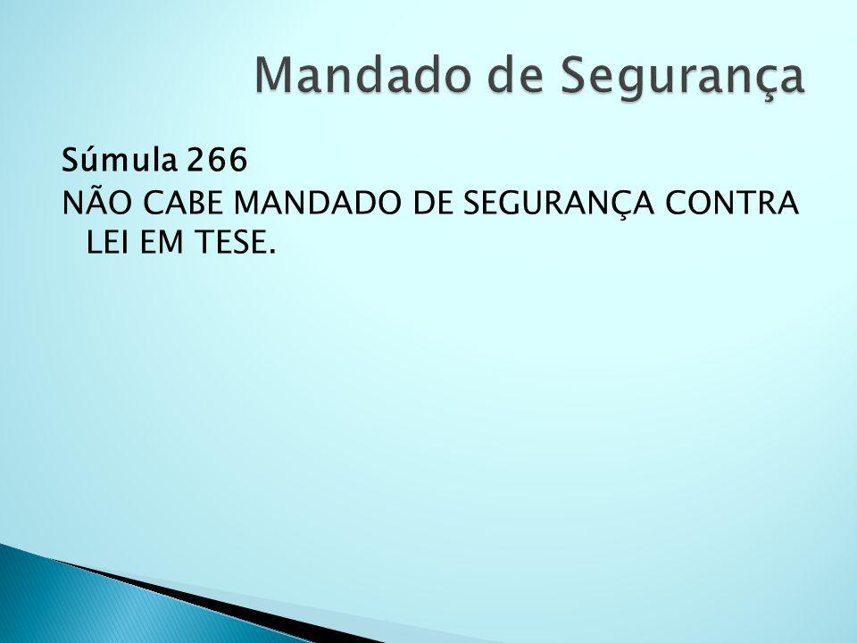 Súmula 266 NÃO CABE MANDADO DE SEGURANÇA CONTRA LEI EM TESE.