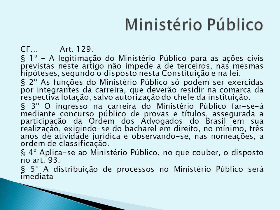 CF... Art. 129. § 1º - A legitimação do Ministério Público para as ações civis previstas neste artigo não impede a de terceiros, nas mesmas hipóteses,