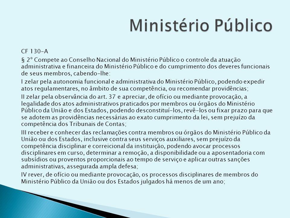 CF 130-A § 2º Compete ao Conselho Nacional do Ministério Público o controle da atuação administrativa e financeira do Ministério Público e do cumprime
