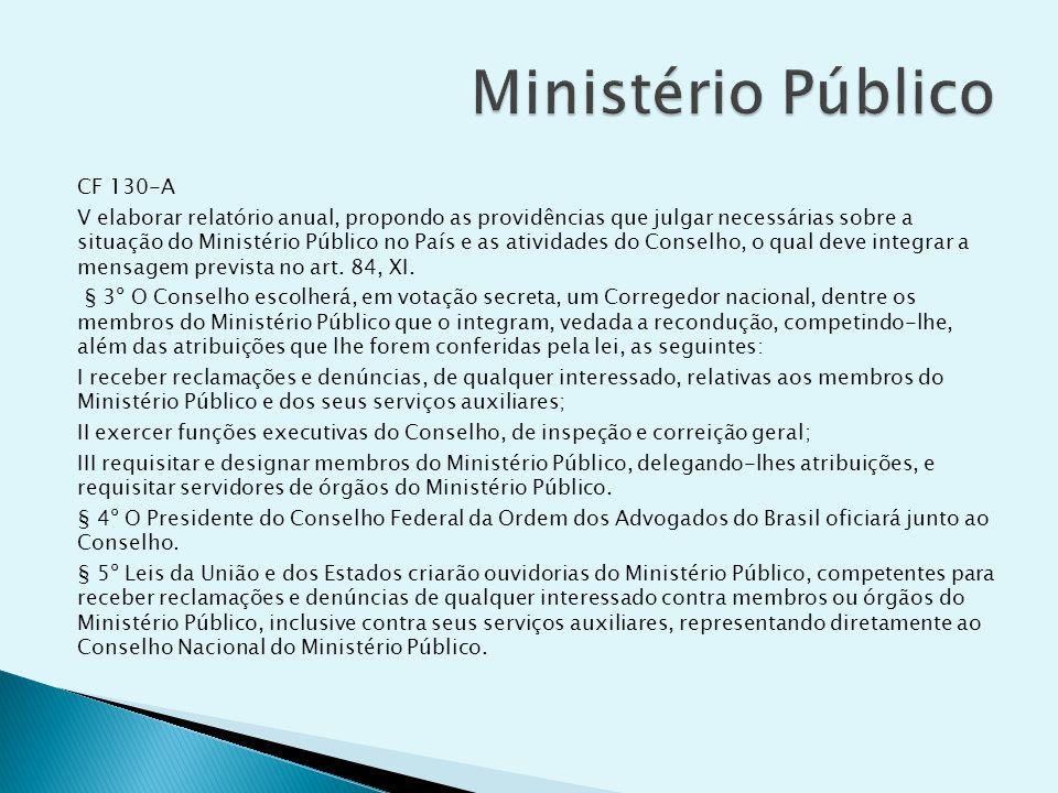 CF 130-A V elaborar relatório anual, propondo as providências que julgar necessárias sobre a situação do Ministério Público no País e as atividades do