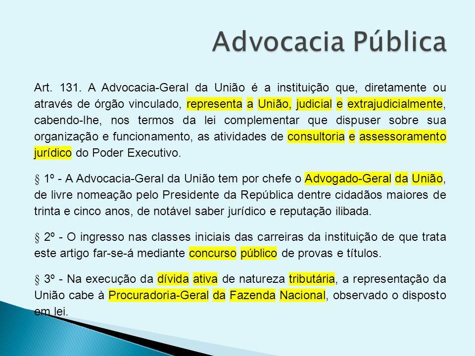 Art. 131. A Advocacia-Geral da União é a instituição que, diretamente ou através de órgão vinculado, representa a União, judicial e extrajudicialmente