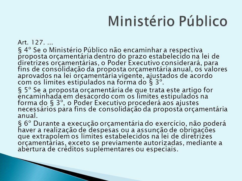 Art. 127.... § 4º Se o Ministério Público não encaminhar a respectiva proposta orçamentária dentro do prazo estabelecido na lei de diretrizes orçament