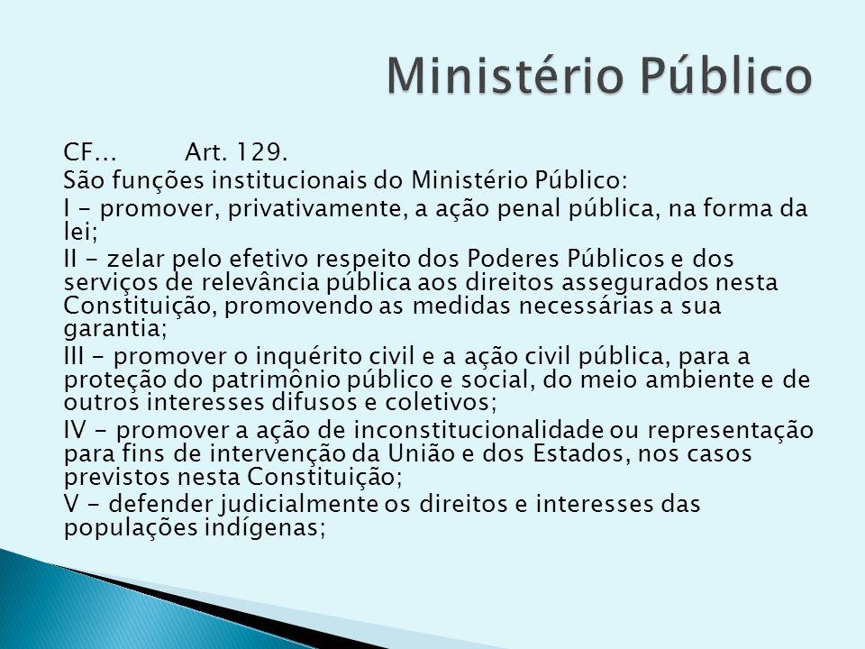 CF... Art. 129. São funções institucionais do Ministério Público: I - promover, privativamente, a ação penal pública, na forma da lei; II - zelar pelo