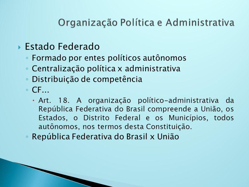 Estado Federado Formado por entes políticos autônomos Centralização política x administrativa Distribuição de competência CF... Art. 18. A organização