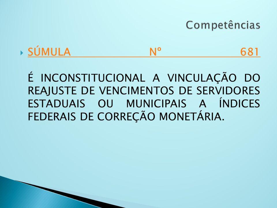 SÚMULA Nº 681 É INCONSTITUCIONAL A VINCULAÇÃO DO REAJUSTE DE VENCIMENTOS DE SERVIDORES ESTADUAIS OU MUNICIPAIS A ÍNDICES FEDERAIS DE CORREÇÃO MONETÁRI