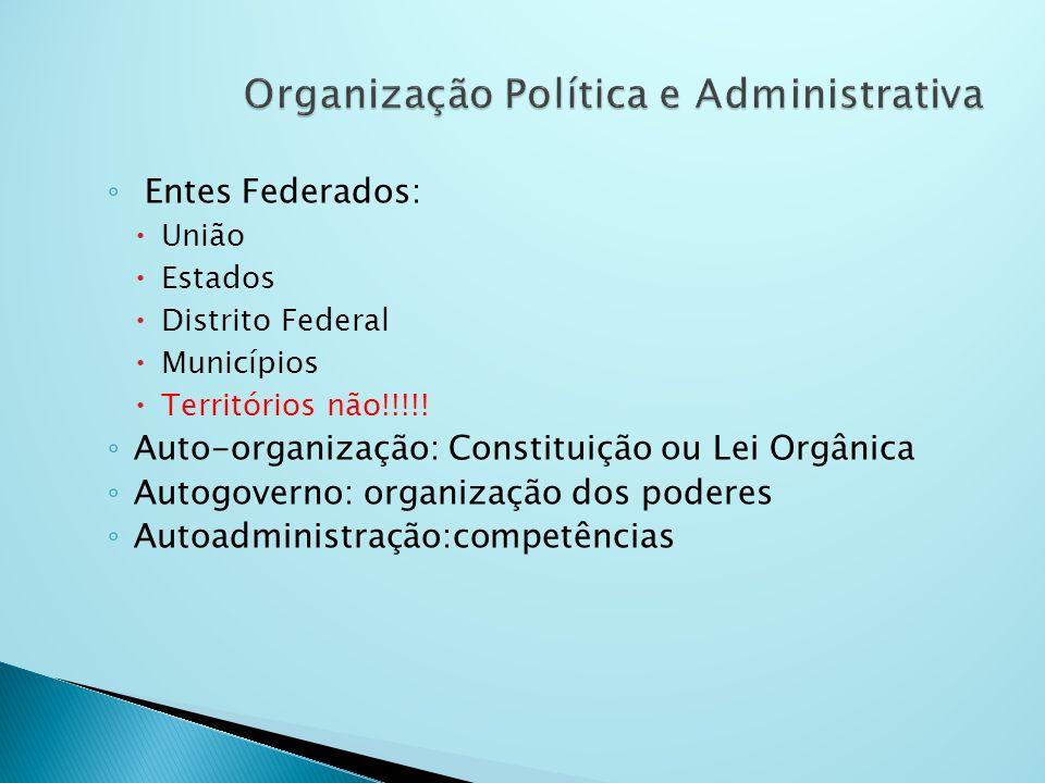 Entes Federados: União Estados Distrito Federal Municípios Territórios não!!!!! Auto-organização: Constituição ou Lei Orgânica Autogoverno: organizaçã