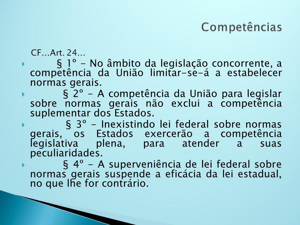 CF...Art. 24... § 1º - No âmbito da legislação concorrente, a competência da União limitar-se-á a estabelecer normas gerais. § 2º - A competência da U