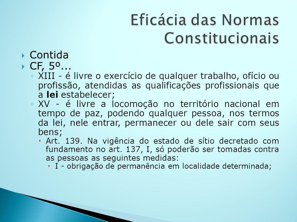 Contida CF, 5º... XIII - é livre o exercício de qualquer trabalho, ofício ou profissão, atendidas as qualificações profissionais que a lei estabelecer