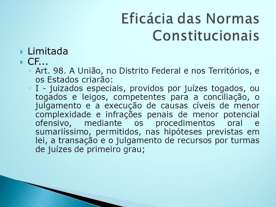 Limitada CF... Art. 98. A União, no Distrito Federal e nos Territórios, e os Estados criarão: I - juizados especiais, providos por juízes togados, ou