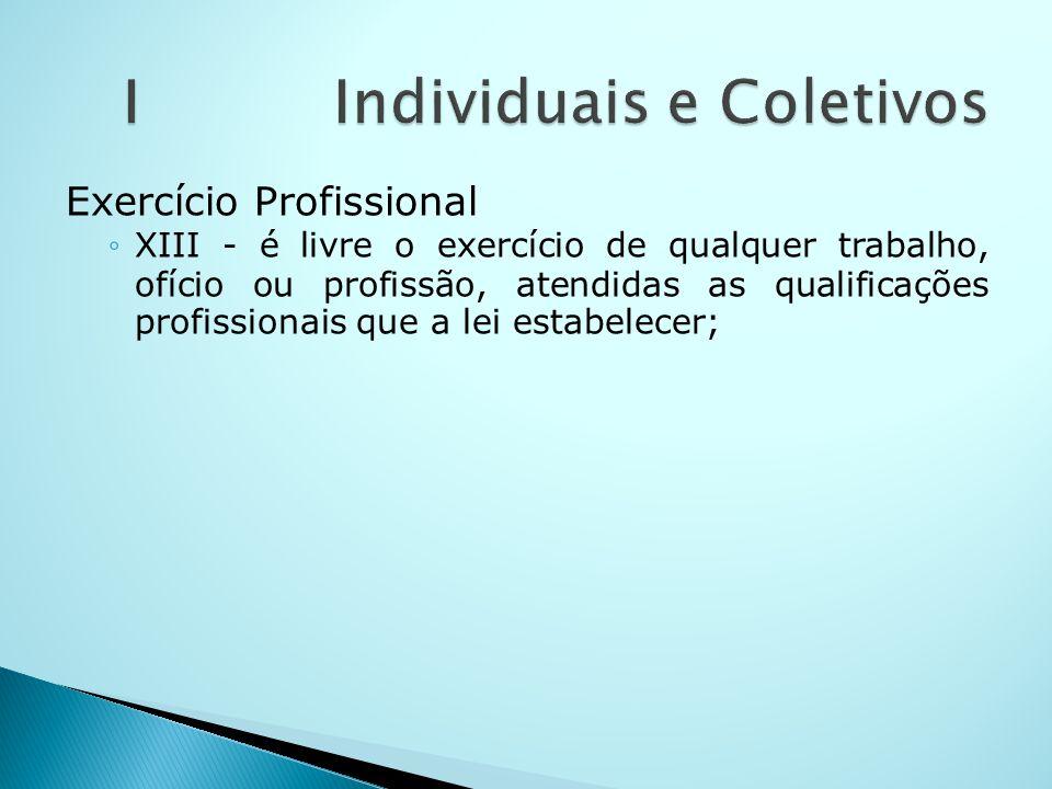 Exercício Profissional XIII - é livre o exercício de qualquer trabalho, ofício ou profissão, atendidas as qualificações profissionais que a lei estabe