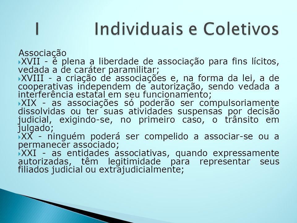 Associação XVII - é plena a liberdade de associação para fins lícitos, vedada a de caráter paramilitar; XVIII - a criação de associações e, na forma d