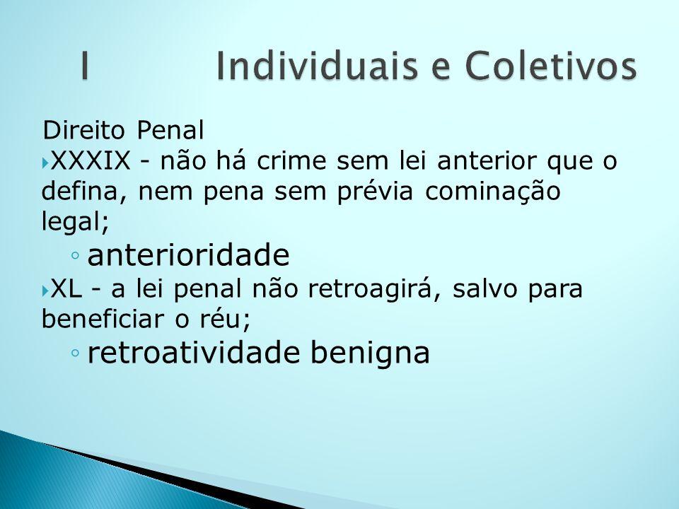 Direito Penal XXXIX - não há crime sem lei anterior que o defina, nem pena sem prévia cominação legal; anterioridade XL - a lei penal não retroagirá,