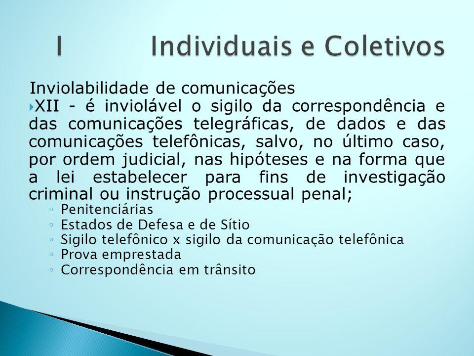Inviolabilidade de comunicações XII - é inviolável o sigilo da correspondência e das comunicações telegráficas, de dados e das comunicações telefônica
