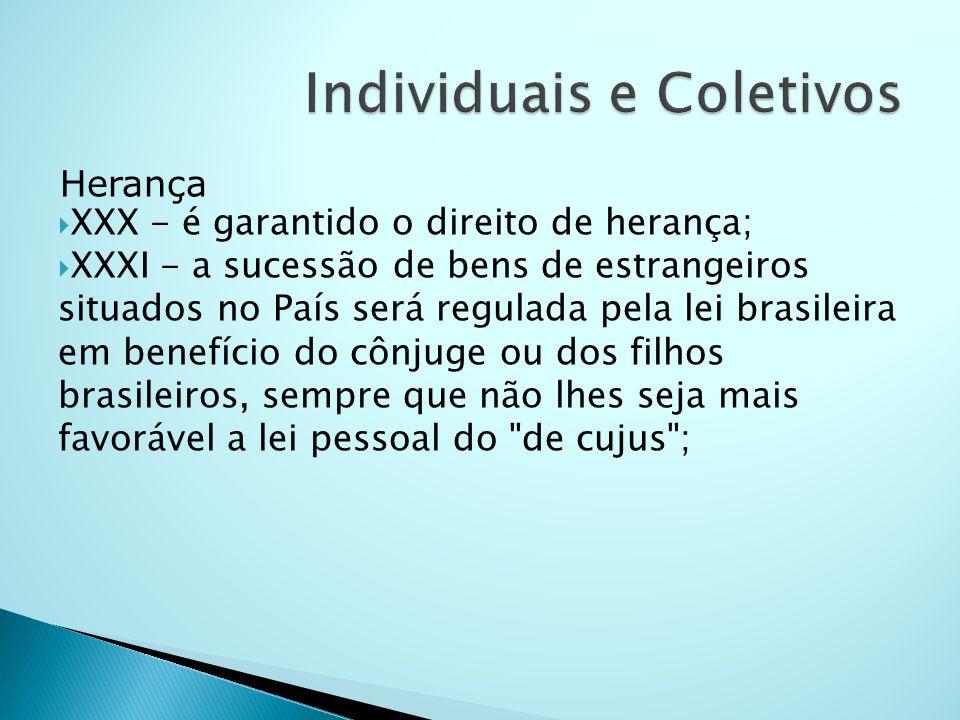 Herança XXX - é garantido o direito de herança; XXXI - a sucessão de bens de estrangeiros situados no País será regulada pela lei brasileira em benefí