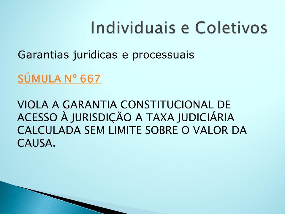 Garantias jurídicas e processuais SÚMULA Nº 667 SÚMULA Nº 667 VIOLA A GARANTIA CONSTITUCIONAL DE ACESSO À JURISDIÇÃO A TAXA JUDICIÁRIA CALCULADA SEM L