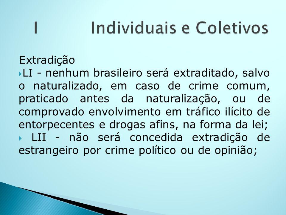 Extradição LI - nenhum brasileiro será extraditado, salvo o naturalizado, em caso de crime comum, praticado antes da naturalização, ou de comprovado e
