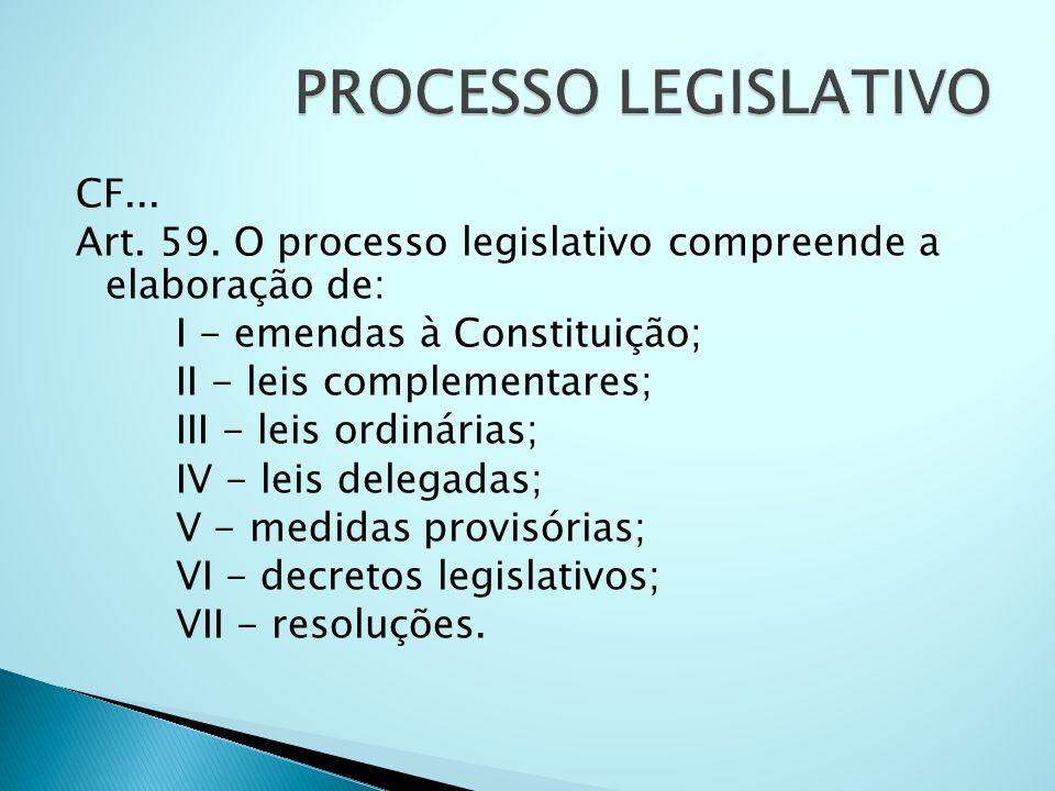CF... Art. 59. O processo legislativo compreende a elaboração de: I - emendas à Constituição; II - leis complementares; III - leis ordinárias; IV - le