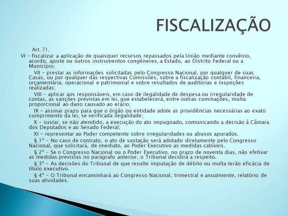 Art. 71. VI - fiscalizar a aplicação de quaisquer recursos repassados pela União mediante convênio, acordo, ajuste ou outros instrumentos congêneres,