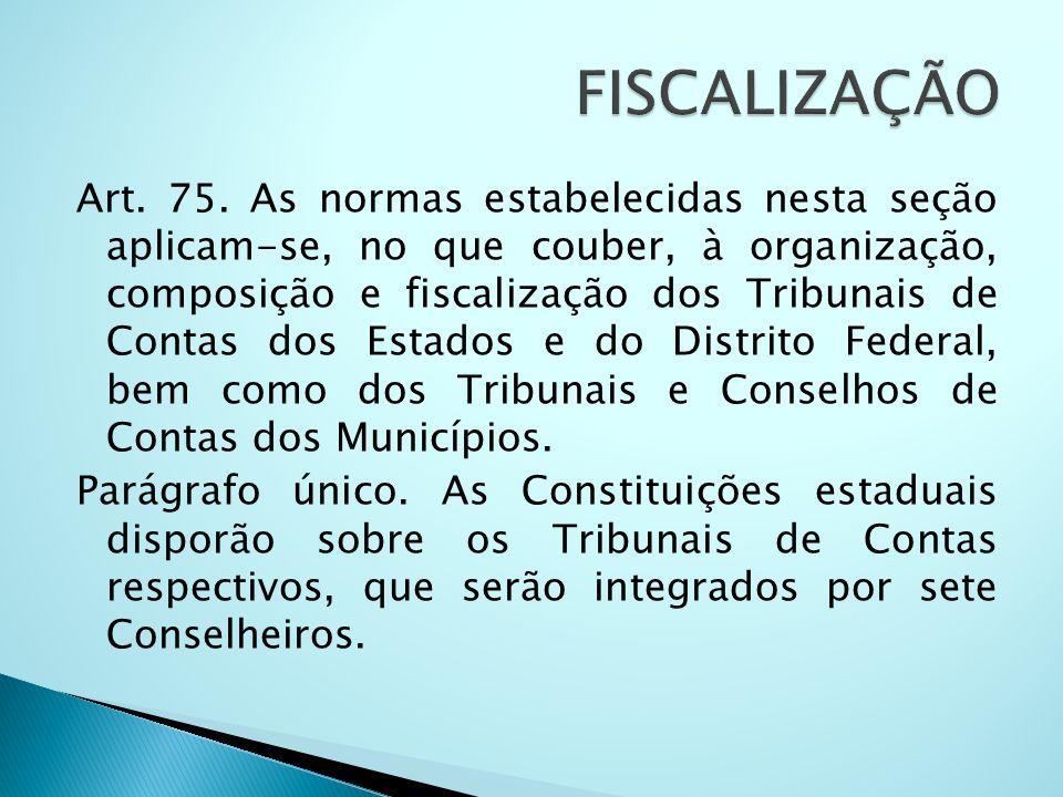 Art. 75. As normas estabelecidas nesta seção aplicam-se, no que couber, à organização, composição e fiscalização dos Tribunais de Contas dos Estados e