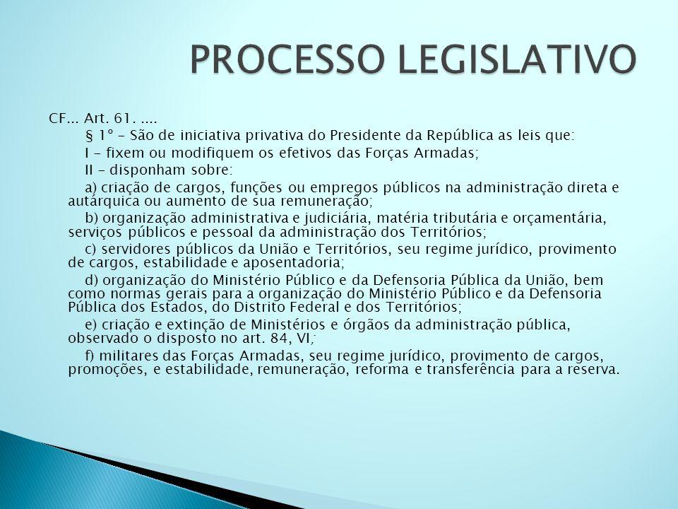 CF... Art. 61..... § 1º - São de iniciativa privativa do Presidente da República as leis que: I - fixem ou modifiquem os efetivos das Forças Armadas;