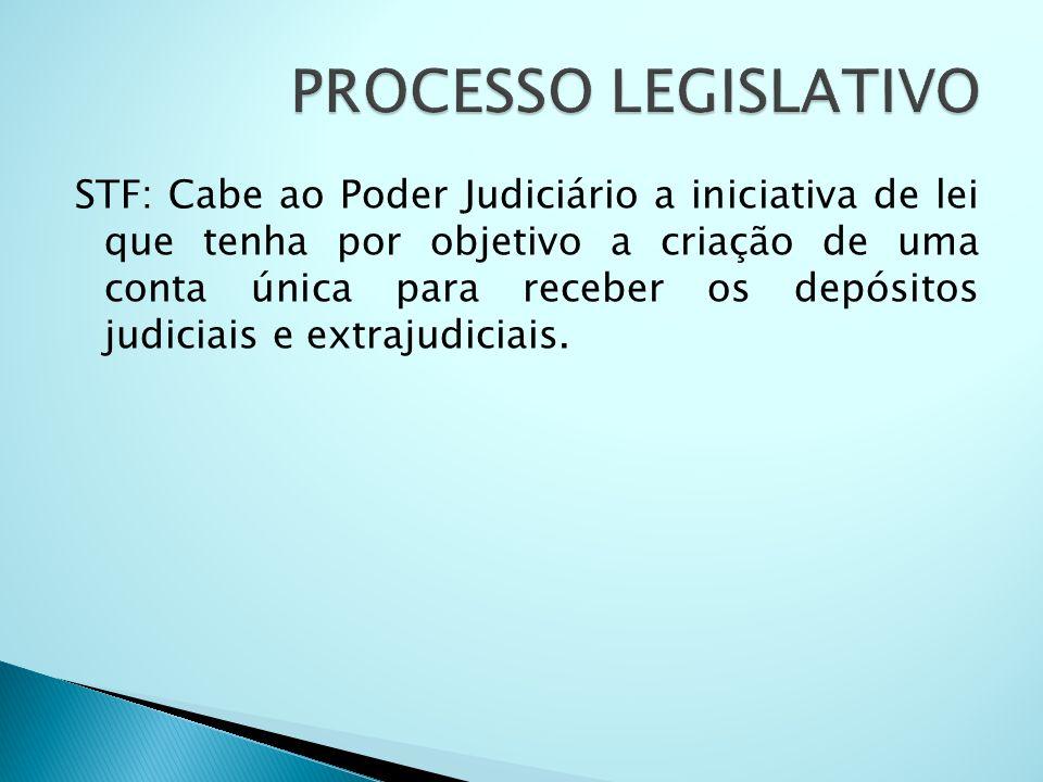 STF: Cabe ao Poder Judiciário a iniciativa de lei que tenha por objetivo a criação de uma conta única para receber os depósitos judiciais e extrajudic