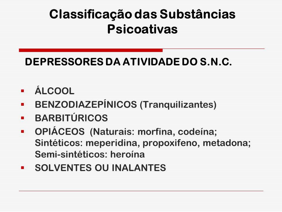 Classificação das Substâncias Psicoativas D EPRESSORES DA ATIVIDADE DO S.N.C. ÁLCOOL BENZODIAZEPÍNICOS (Tranquilizantes) BARBITÚRICOS OPIÁCEOS (Natura
