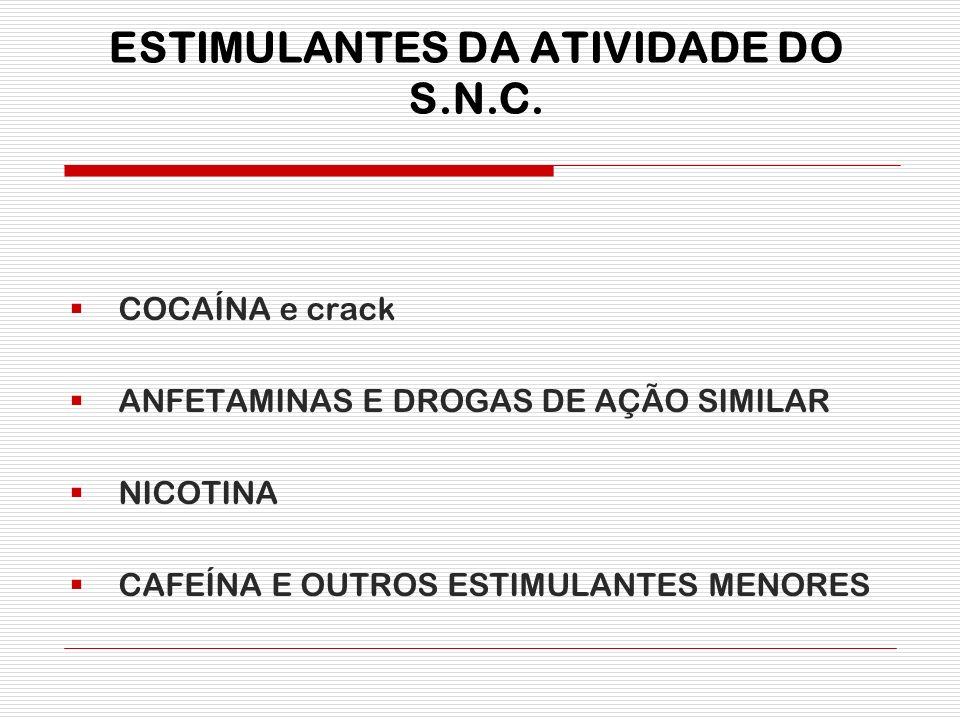 ESTIMULANTES DA ATIVIDADE DO S.N.C. COCAÍNA e crack ANFETAMINAS E DROGAS DE AÇÃO SIMILAR NICOTINA CAFEÍNA E OUTROS ESTIMULANTES MENORES