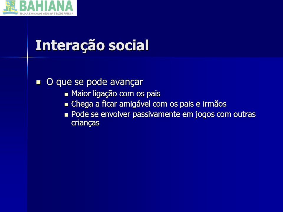 Interação social O que não se espera avançar O que não se espera avançar Continua sem iniciar o contato.