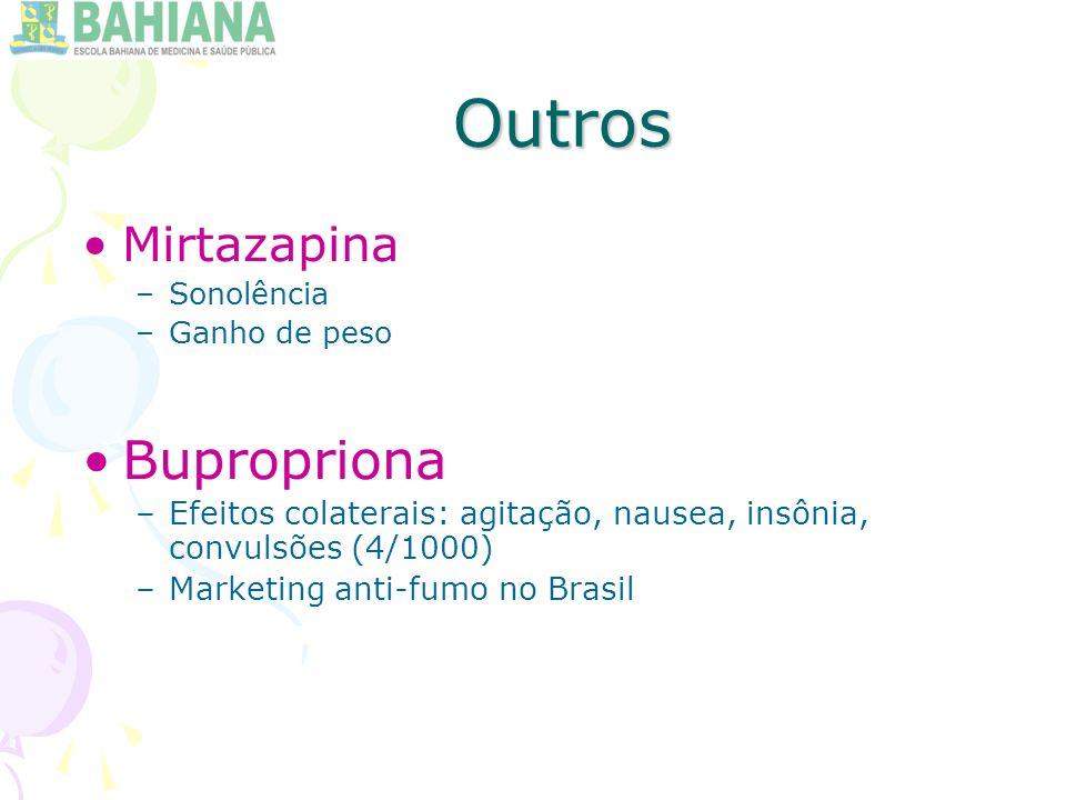 Outros Mirtazapina –Sonolência –Ganho de peso Bupropriona –Efeitos colaterais: agitação, nausea, insônia, convulsões (4/1000) –Marketing anti-fumo no Brasil