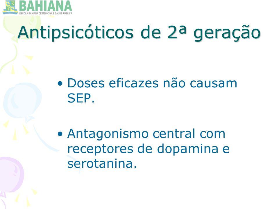 Antipsicóticos de 2ª geração Doses eficazes não causam SEP.